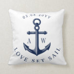 """Nautical Anchor Custom Monograms White Throw Pillow<br><div class=""""desc"""">Nautical style toss pillow featuring your custom monograms of the bride and groom or possibly a first and last name.</div>"""