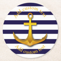 Nautical Anchor Custom Party Round Paper Coaster