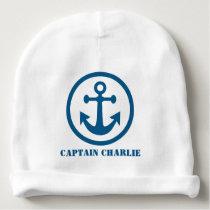 Nautical Anchor custom text baby hat