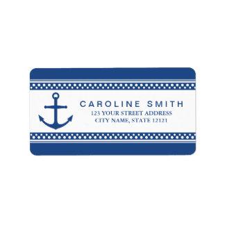 Nautical anchor, dark blue borders return address personalized address label