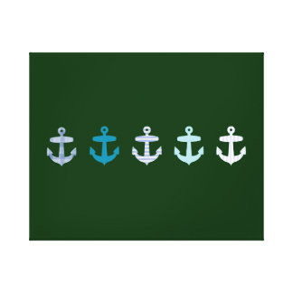 Nautical Anchor Design - Blue / Green Canvas Print