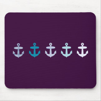 Nautical Anchor Design - Blue / Purple Mouse Pad