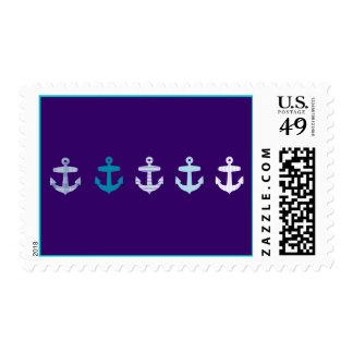 Nautical Anchor Design - Blue / Purple Postage