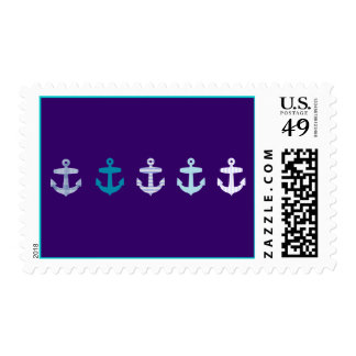 Nautical Anchor Design - Blue / Purple Postage Stamps
