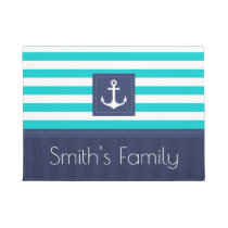 Nautical Anchor Design Personalized Family Name Doormat