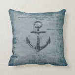 Nautical Anchor Distressed Blue Throw Pillow