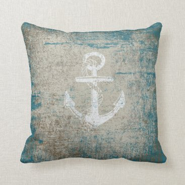 OldCountryStore Nautical Anchor Distressed Grunge Throw Pillow