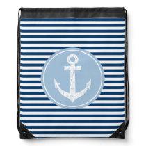 Nautical anchor drawstring bag | navy blue stripes
