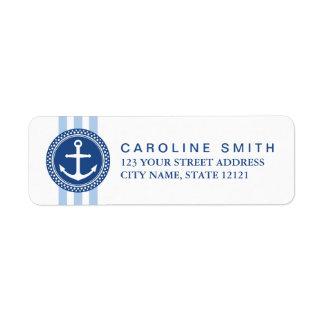 Nautical anchor emblem blue stripes return address label