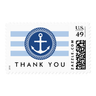Nautical anchor emblem, blue stripes thank you postage