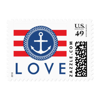 Nautical anchor emblem, red stripes love wedding postage