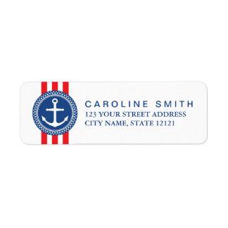 Nautical anchor emblem red stripes return address label