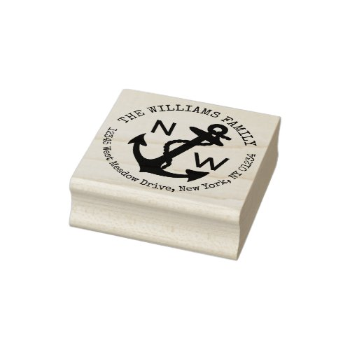 Nautical Anchor Family Name Return Address Rubber Stamp