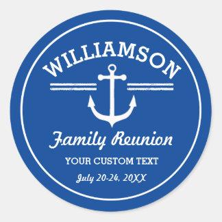 Nautical Anchor Family Reunion Trip Cruise Beach Classic Round Sticker