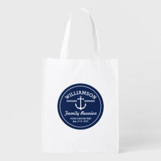 Nautical Anchor Family Reunion Trip Cruise Beach Grocery Bag