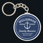 "Nautical Anchor Family Reunion Trip Cruise Beach Keychain<br><div class=""desc"">The perfect design for a family reunion, trip, cruise or beach house, featuring a white anchor logo, vintage stripes and your name. Personalize further with 3 lines of custom text - add &quot;Family Reunion, Family Trip, Cruise, Beach House name, location, date, etc. Change the background color on some items by...</div>"