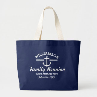 Nautical Anchor Family Reunion Trip Cruise Beach Large Tote Bag