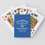 """Nautical Anchor Family Reunion Trip Cruise Beach Playing Cards<br><div class=""""desc"""">The perfect design for a family reunion, trip, cruise or beach house, featuring a white anchor logo, vintage stripes and your name. Personalize further with 3 lines of custom text - add &quot;Family Reunion, Family Trip, Cruise, Beach House name, location, date, etc. Change the background color on some items by...</div>"""