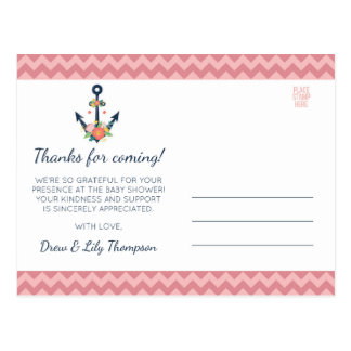 Nautical Anchor Floral Baby Girl Shower Thank You Postcard