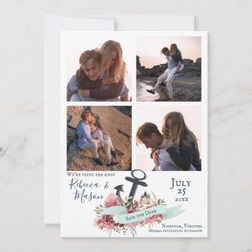 Nautical Anchor Floral Beach Wedding Multi Photo Save The Date