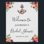 "Nautical Anchor Floral Bridal Shower Welcome Sign<br><div class=""desc"">Nautical Anchor Floral Bridal Shower Welcome Sign Poster</div>"