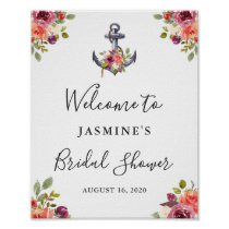 Nautical Anchor Floral Bridal Shower Welcome Sign