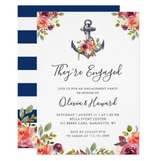 Nautical Anchor Floral Navy Blue Engagement Party Invitation