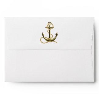 Nautical Anchor Gold Black Stripe Wedding Envelope