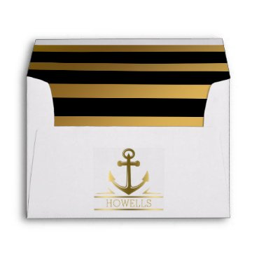 Beach Themed Nautical Anchor Gold Black Stripe Wedding Monogram Envelope