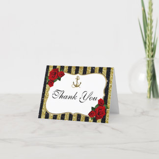 Nautical Anchor Gold Black Stripes Thank You Card