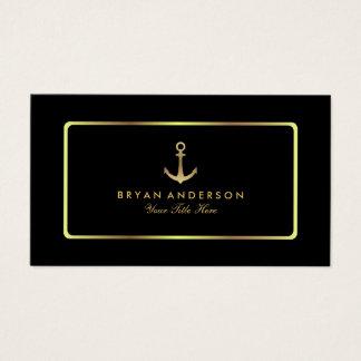 Nautical Anchor Gold Business Card