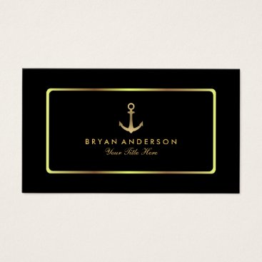 Professional Business Nautical Anchor Gold Business Card