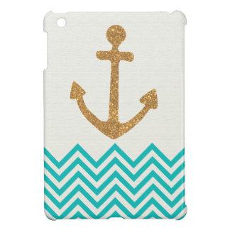 Nautical Anchor Gold Chevron iPad Case Cover For The iPad Mini