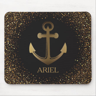 Nautical Anchor Gold Glitter Black Office Gift Mouse Pad
