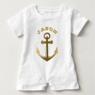 Beach Themed Nautical Anchor Gold Monogrammed Name Baby Romper