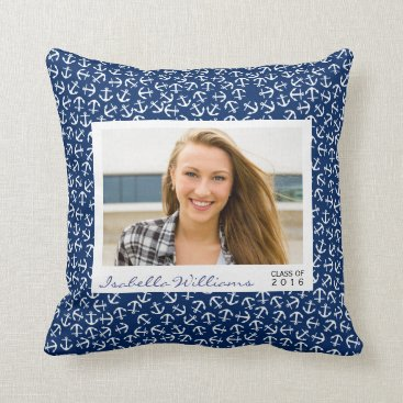 Beach Themed Nautical Anchor Graduation Class of 2016 Beach Throw Pillow