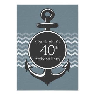Nautical Anchor Gray Chevron 40th Birthday Party 5x7 Paper Invitation Card