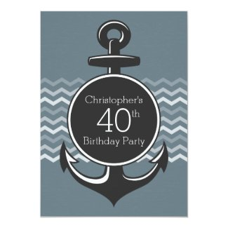 Nautical Anchor Gray Chevron 40th Birthday Party Card