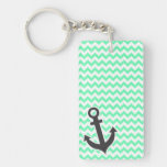 Nautical Anchor; Green Chevron Acrylic Key Chain