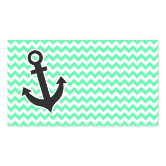 Nautical Anchor; Green Chevron Double-Sided Standard Business Cards (Pack Of 100)