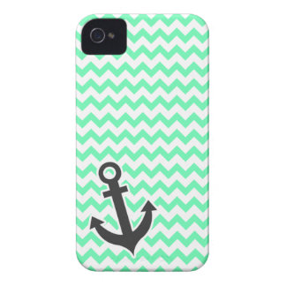 Nautical Anchor Green Chevron iPhone 4 Case