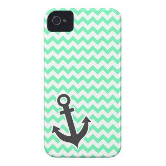 Nautical Anchor; Green Chevron Case-Mate iPhone 4 Case