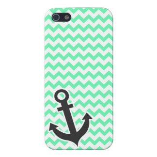 Nautical Anchor; Green Chevron iPhone 5 Cases