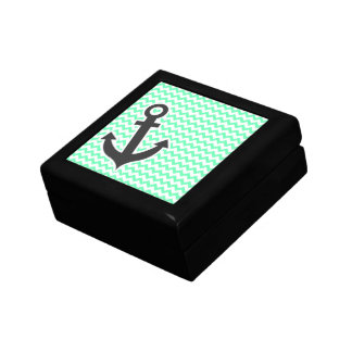 Nautical Anchor; Green Chevron Keepsake Box