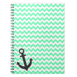 Nautical Anchor; Green Chevron Notebook