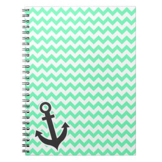 Nautical Anchor; Green Chevron Notebook