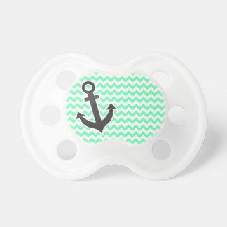 Nautical Anchor; Green Chevron Pacifier