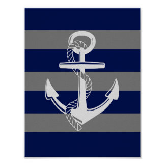 Nautical Anchor, Grey & Blue, Wall Art Print