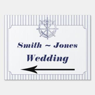 Nautical Anchor Grey Stripe Wedding Direction Sign