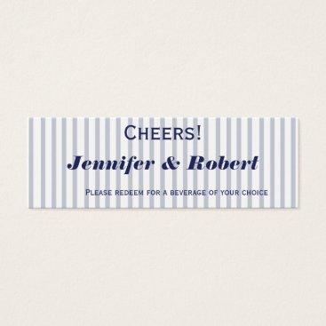 Beach Themed Nautical Anchor Grey Stripe Wedding Drink Tickets
